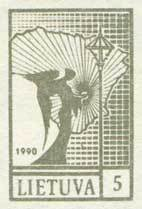 1990 m. 457B Definitive Issue Angel and Map