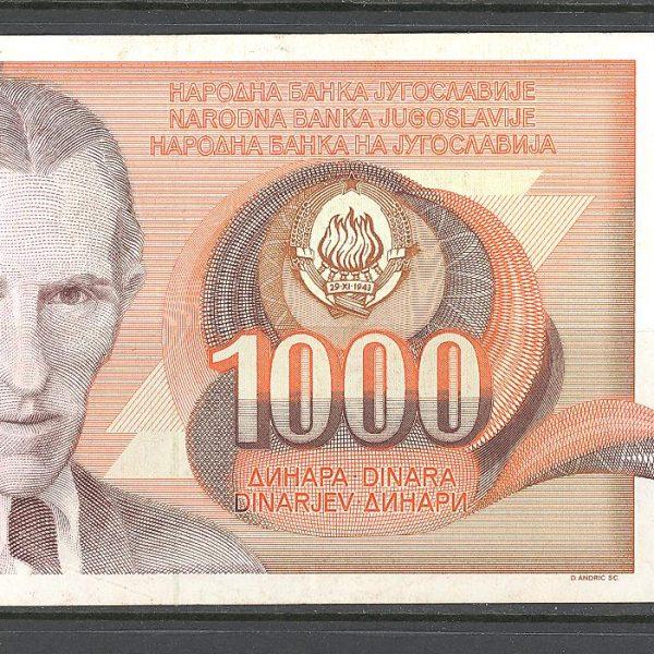 5 Jugoslavija 1000 dinarų 1990 m. 1 2