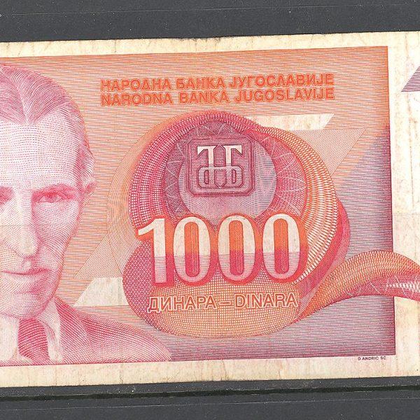 7 Jugoslavija 1000 dinarų 1992 m. 1
