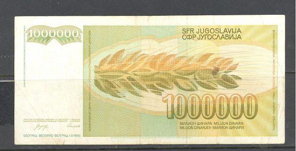 Jugoslavija 1 mln. 1989 m. 2 4
